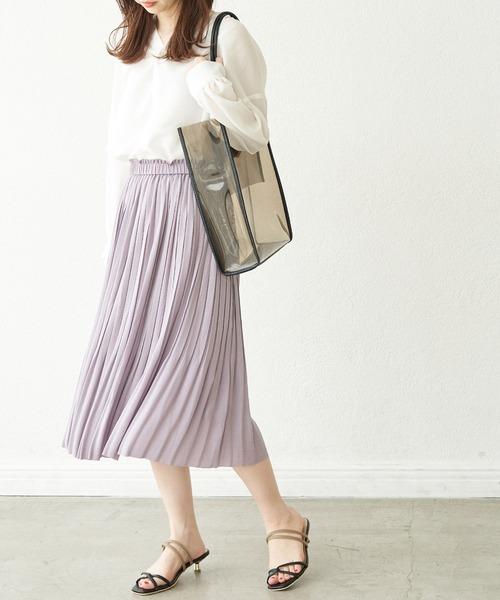 [ROPE' PICNIC] 【撥水加工】パウダリーサテンスカート