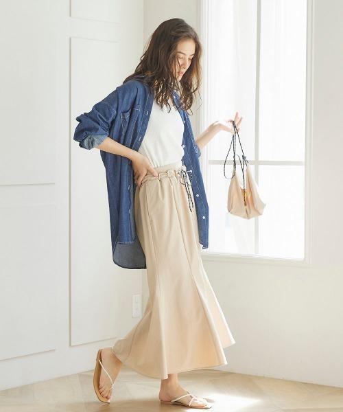 [LIPSTAR] 【セット商品】サコッシュ付き撥水フレアスカート