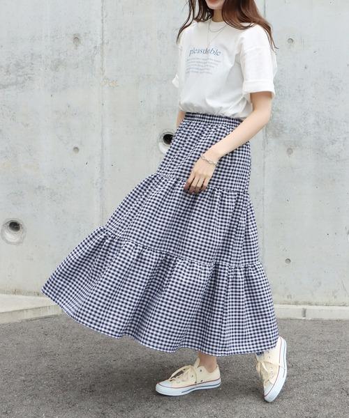 [BLUEEAST] ギンガムチェックティアードスカート