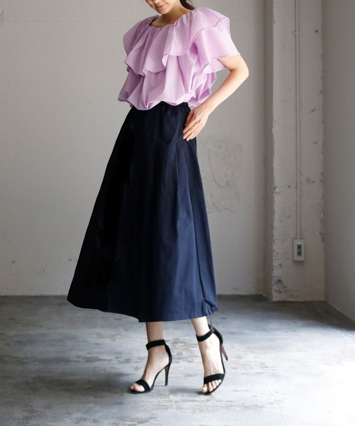 [GIRL] タフタギャザーボリュームフレアミモレ丈スカート