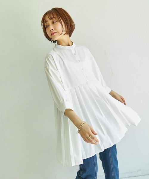 【AIC.】7分袖バンドカラープリーツ切替ブラウス