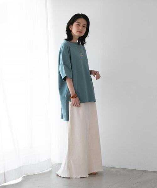 【WEB限定】FEELING MADE UVカット サイドスリット ビッグシルエット ロングTシャツ