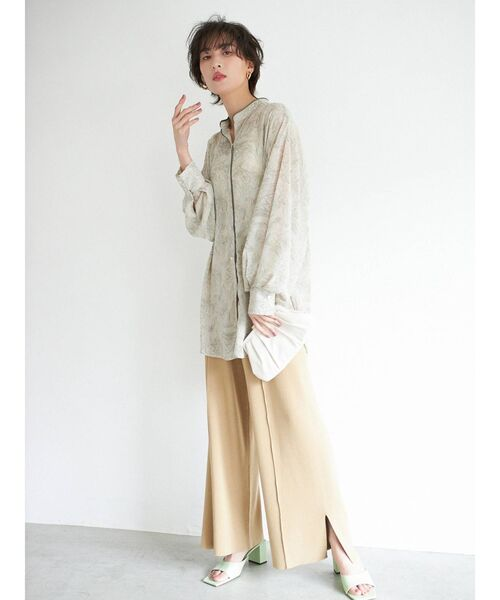 【COTORICA.】マーブル柄スタンドカラーパイピングシャツ