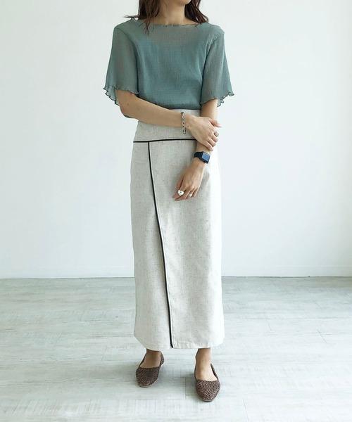 シースルーブラウス×ラップ風スカート