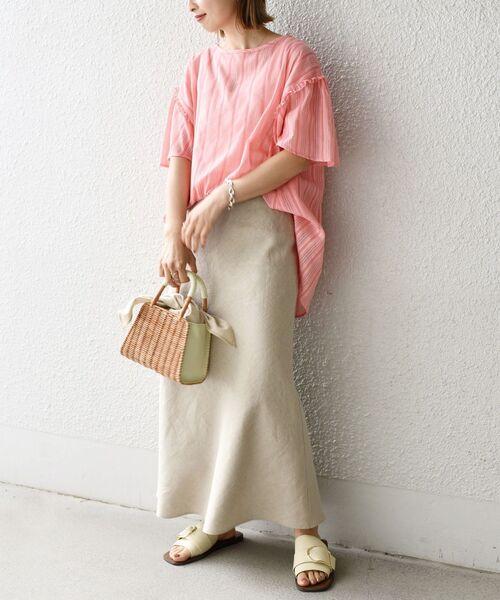 ピンクストライプブラウス×スカートの夏コーデ