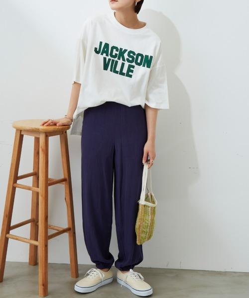 [Auntie Rosa] ビッグカレッジロゴプリントTシャツ