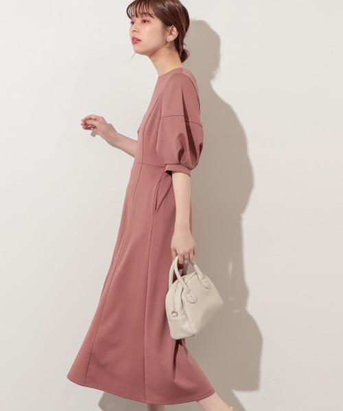 【natural couture】ランタンスリーブ2WAYカットワンピース