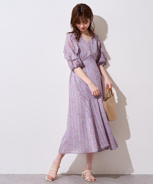 [natural couture] 【WEB限定】ストライプ花柄フリルワンピース
