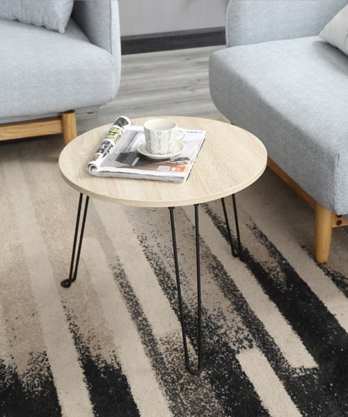 [aimoha] 木製折りたたみミニ円形テーブル