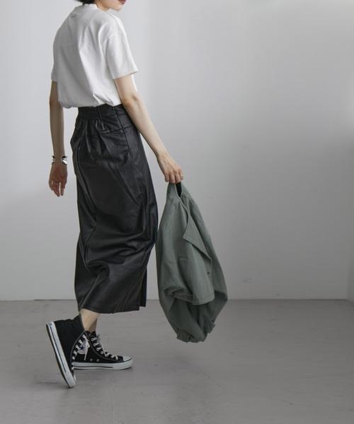 [Fashion Letter] フェイクレザーラップスカート 21SS