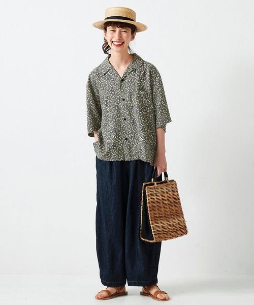 [FELISSIMO] サニークラウズ シトルーナとkazumiのレモンアロハシャツ〈レディース〉