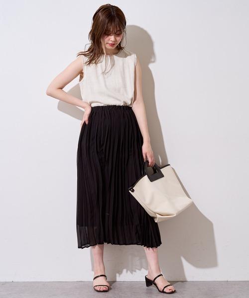 [natural couture] やわらかアコーディオンプリーツスカート