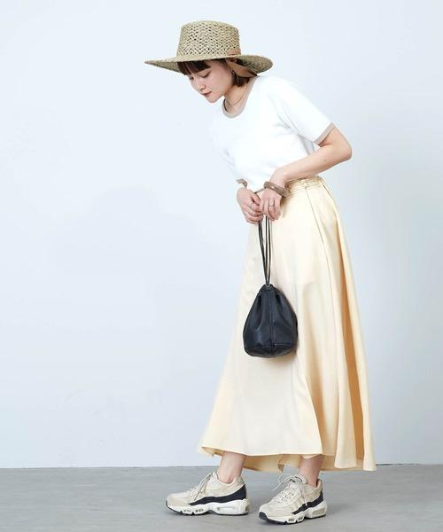 [mikke] リネン風チャイナボタンロングスカート