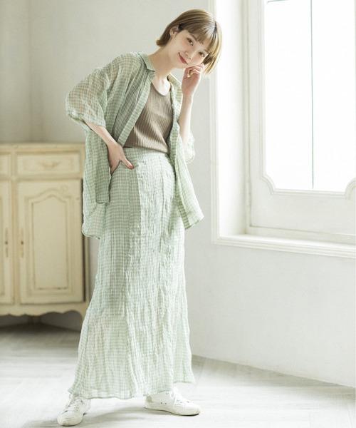 【mikke】しわ加工シアーチェックマーメイドスカート