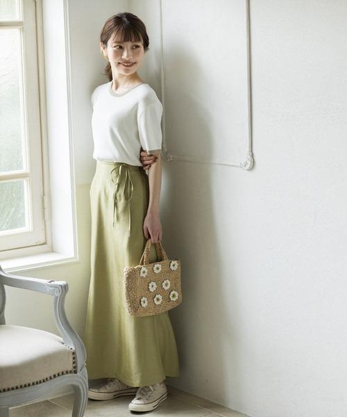 [mikke] しわ加工サテンマーメードスカート