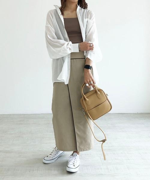 [210nouve] リネンブレンドパイピングロングタイトスカート