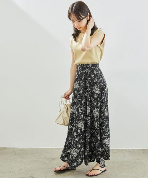 [ROPE' PICNIC] エスカルゴ花柄フレアスカート