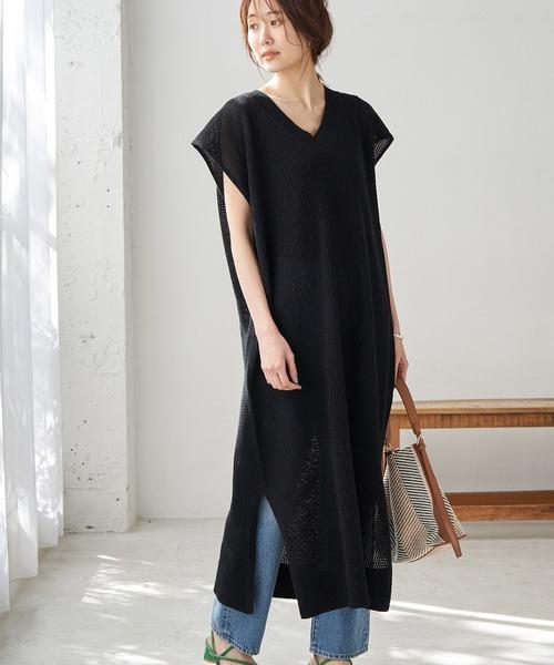 メッシュ編みワンピース