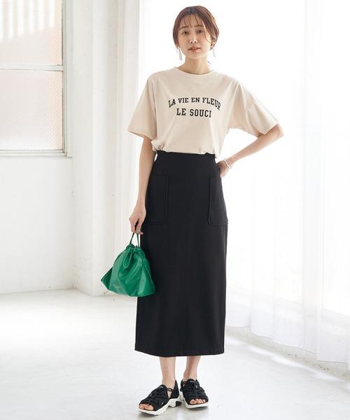 [ROPE' PICNIC] リネン調ジャージカラースカート