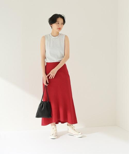 [JOURNAL STANDARD] 麻ブレンドストレッチフレアスカート◆