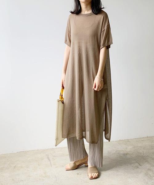 [Lian] オーバーサイズ半袖シアーワンピース