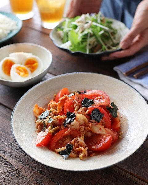 人気の韓国アレンジ!トマトキムチのツナ和え