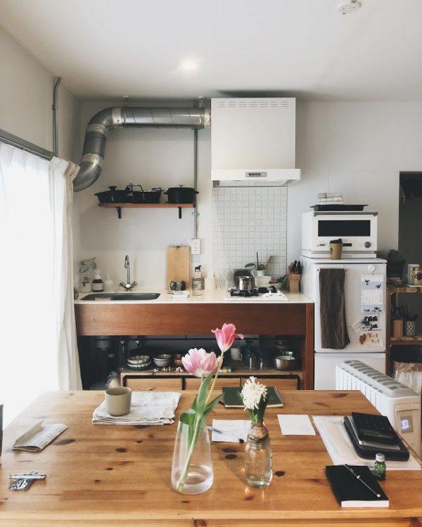 DIYで作る団地のナチュラルなキッチン