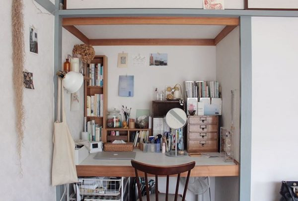 和室の押し入れを使った書斎の収納アイデア