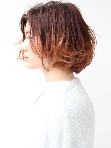 ウェットボブ×オレンジブラウン裾カラー