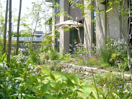洋風モダン住宅に合うおしゃれな雰囲気の庭園