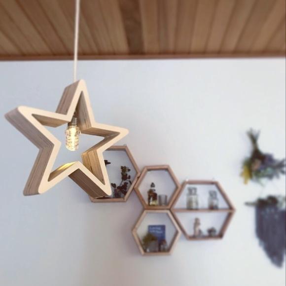 ダイソーの星形オブジェをリメイクしたランプ
