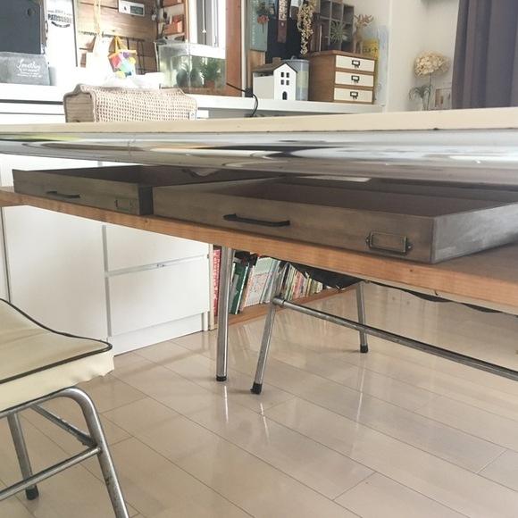 普通のテーブルを収納付きにDIYした実例