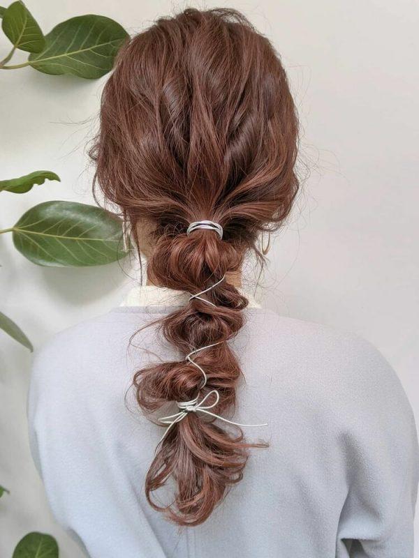 編み下ろしロング×ピンクアッシュヘアカラー