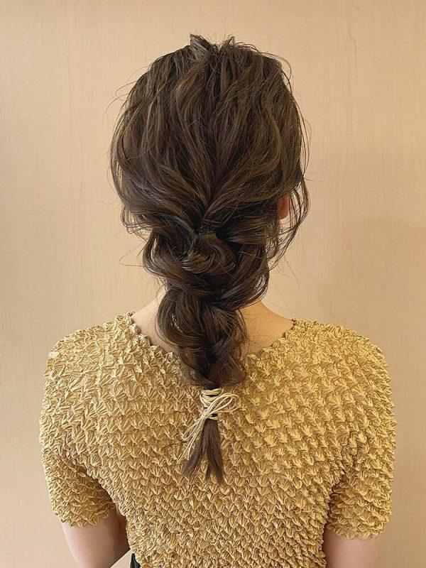 編みおろしアレンジの浴衣に合う大人な髪型