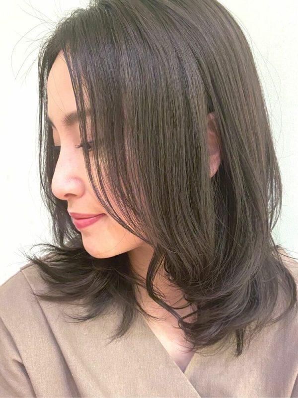 大人のきれいめ長め前髪×ミディアムアレンジ