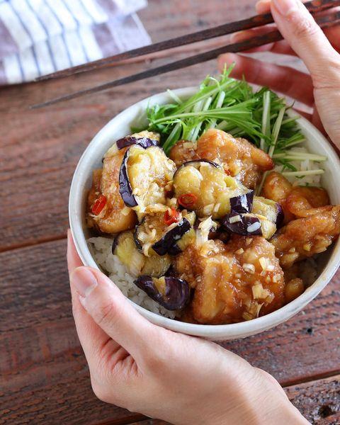 人気料理!ナスと鶏肉の揚げ焼きびたし丼
