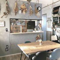 おしゃれなアイデア満載。カウンターキッチンを目隠ししてスッキリ素敵な空間に