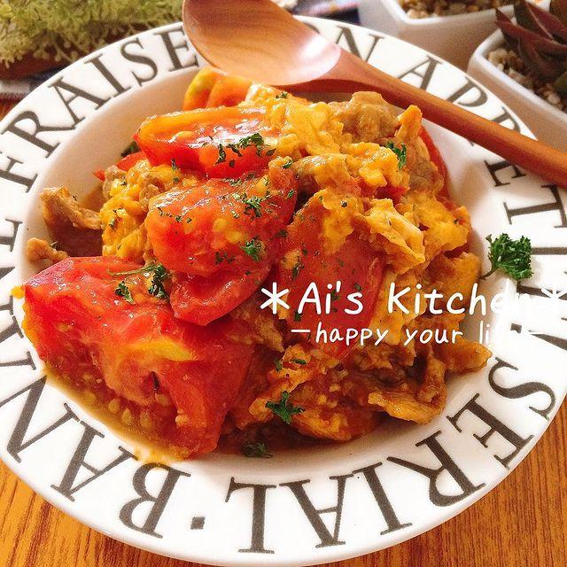 完熟トマトの中華風卵とじ