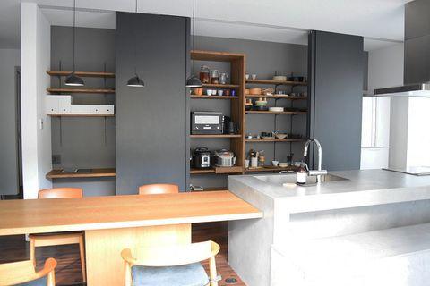濃いめの壁がおしゃれなキッチン実例