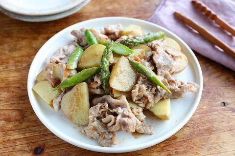 フライパンで簡単!豚こまと春野菜の梅ポン炒め