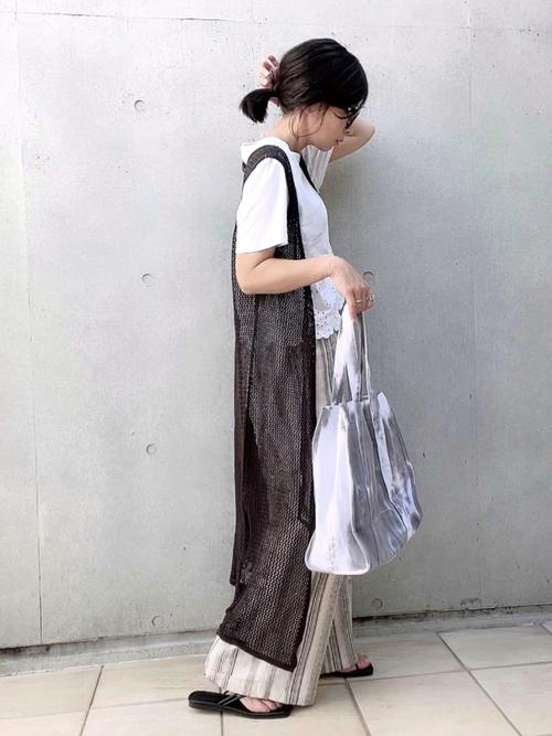 ZARATシャツ×柄ワイドパンツの夏コーデ