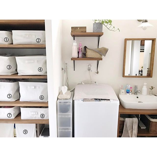 洗面所の棚の衣装ケース活用術