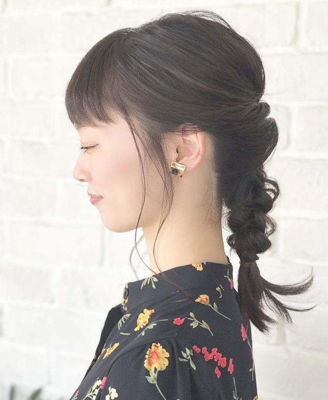 黒髪さんのミディアム×三つ編みアレンジ