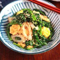 栄養満点副菜!ほうれん草とちくわと炒り卵の3色ナムル
