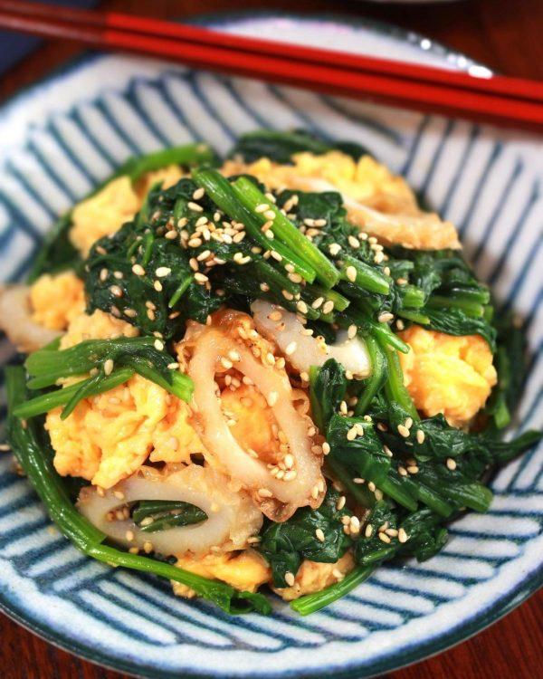 ほうれん草とちくわと炒り卵の3色ナムル4