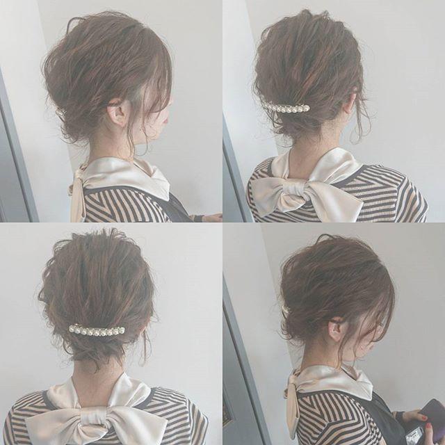 巻き髪ボブにおすすめのきっちりまとめ髪