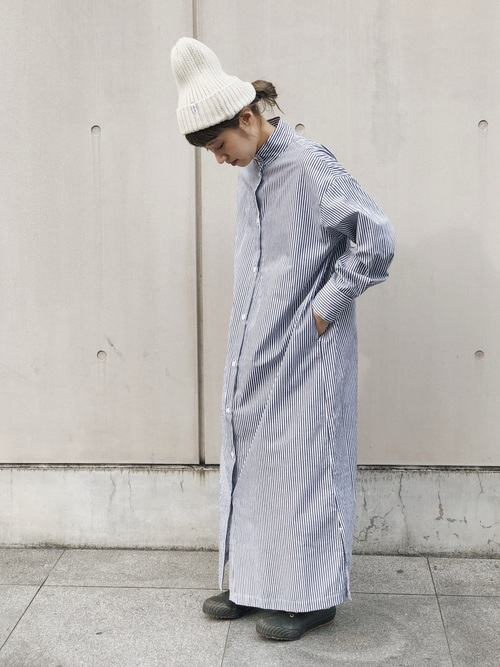 [JAPAN BLUE] OKKAKE LONG SHIRT:スタンドカラーシャツワンピース