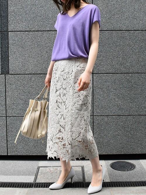 [Ranan] フラワーレースタイトスカート