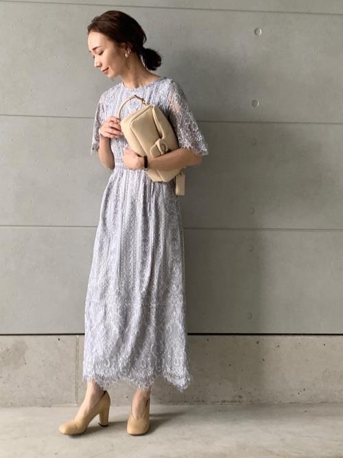 [PourVous] 結婚式ワンピースドレススカラップ袖あり&ミモレ丈大きいサイズフォーマル