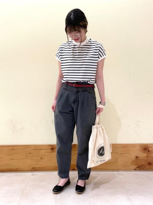 ファッションメガネ×バルーンデニムパンツ